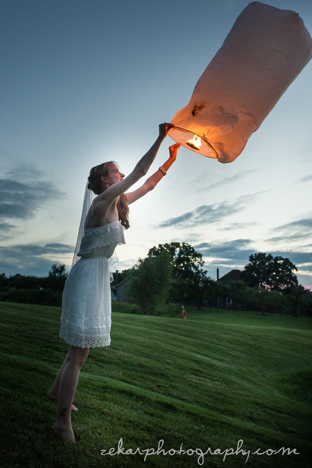 bride with chinese lantern
