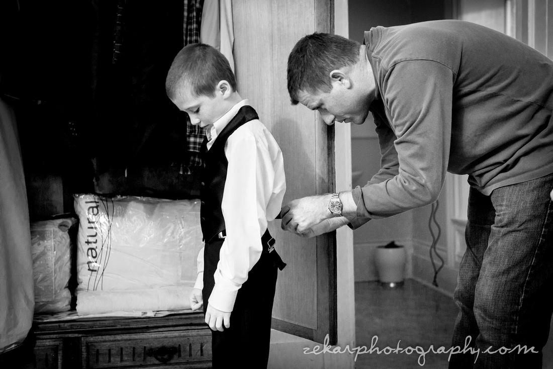 ring bearer getting ready