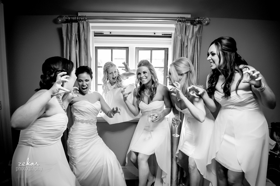 black and white bridal party roar