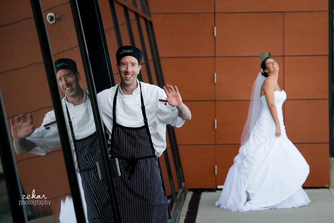 chef photo bombing bridal portrait