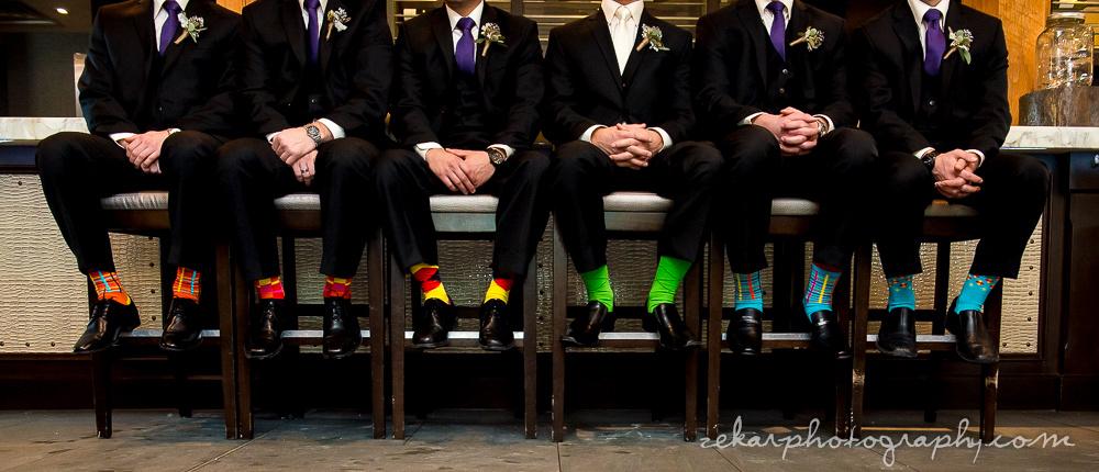groomsmen with funky coloured socks