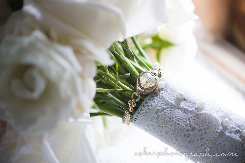 bridal bouquet with grandmothers watch