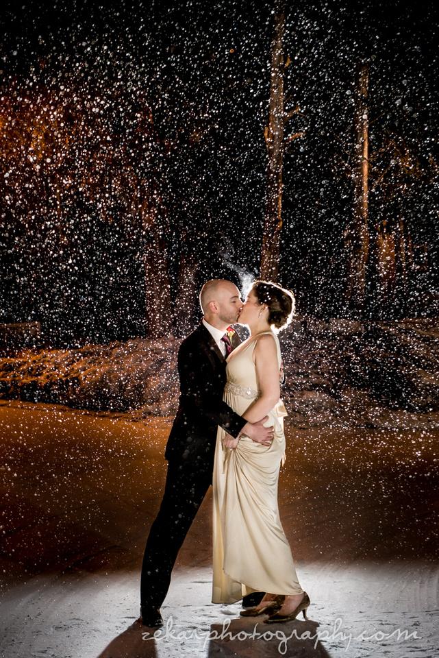 winter wedding night time photography