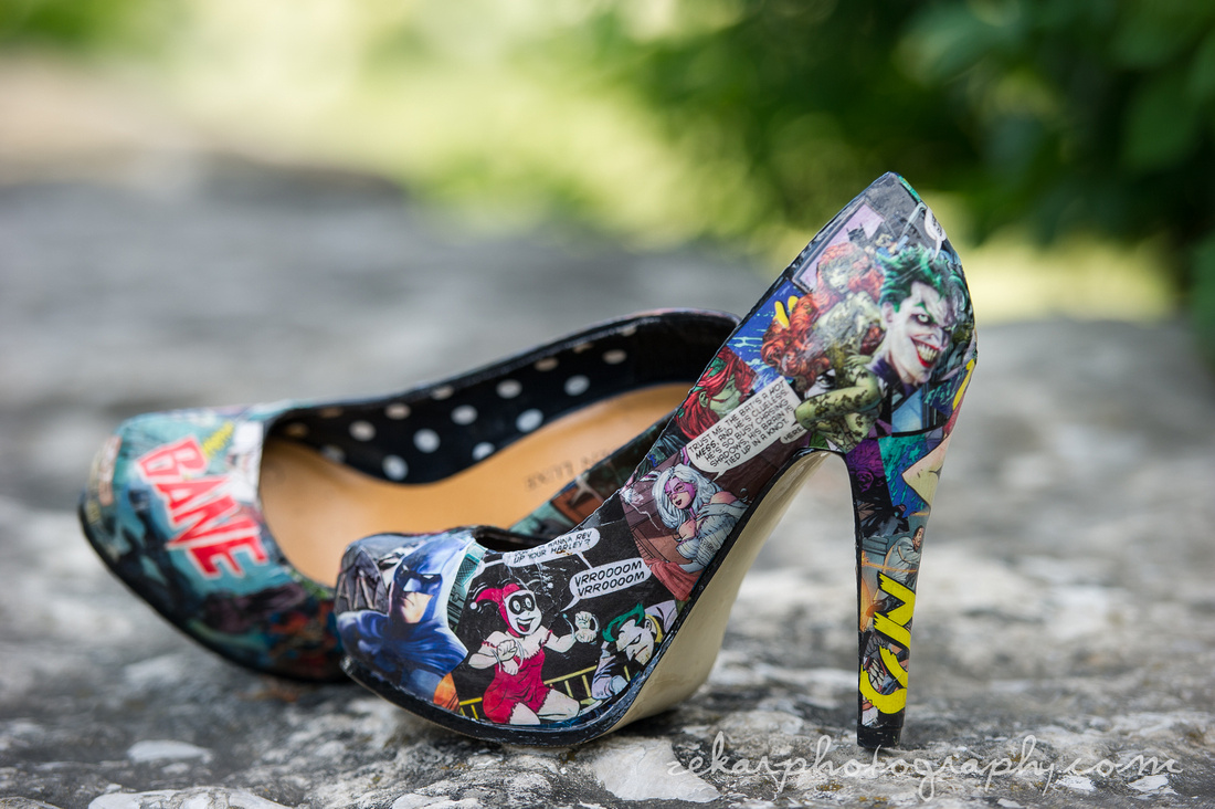 comic book covered wedding shoes