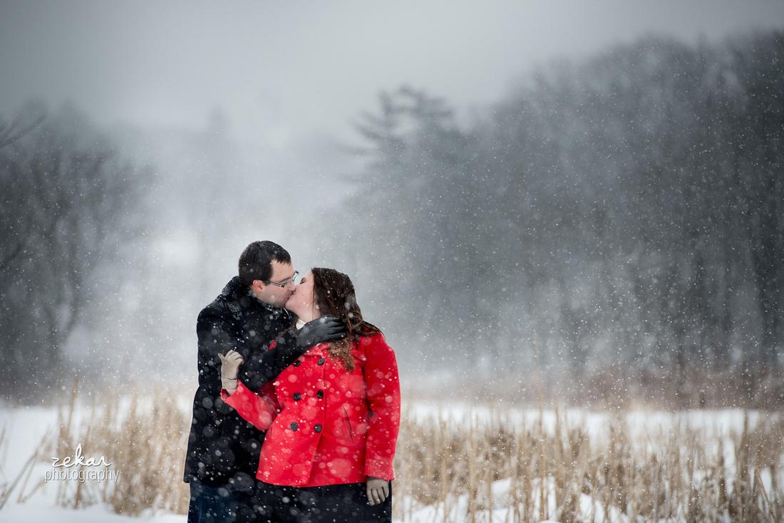 snowy engagement shoot hamilton