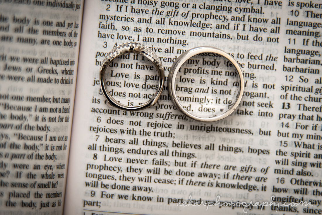 wedding rings over bible pages
