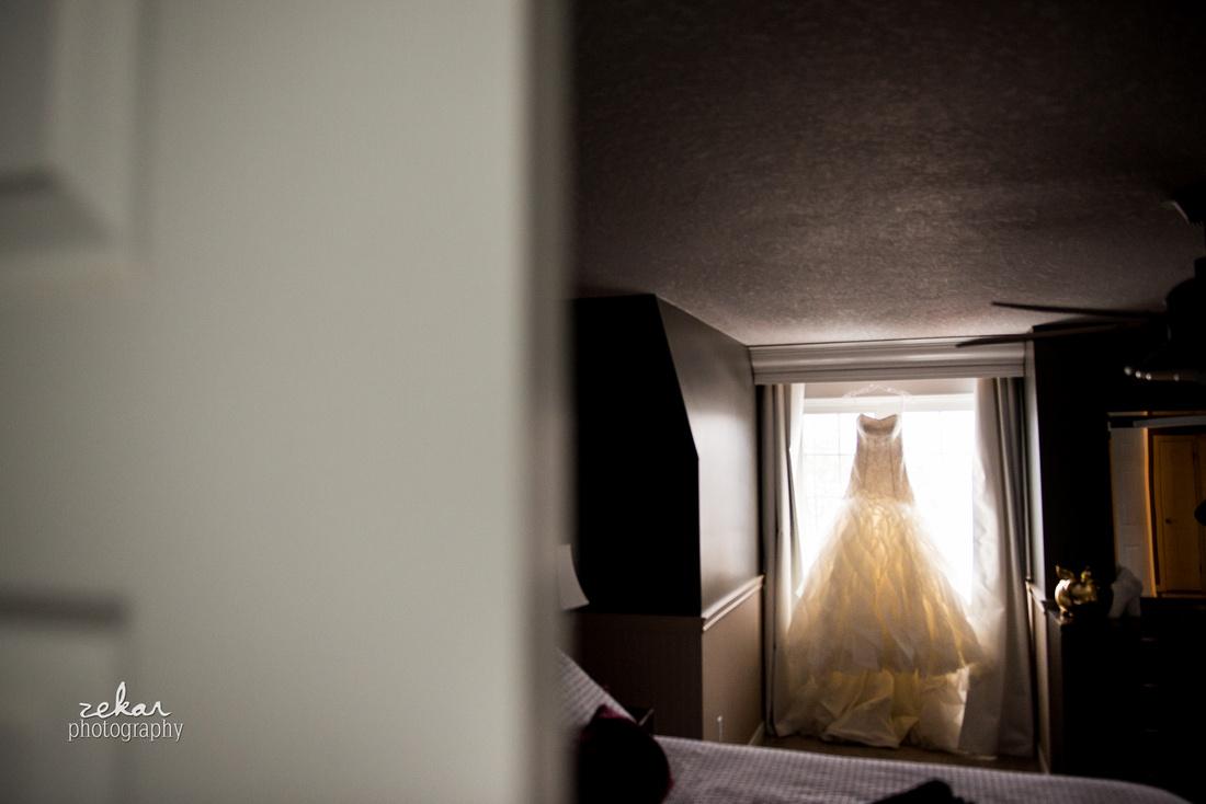 bridal dress in window