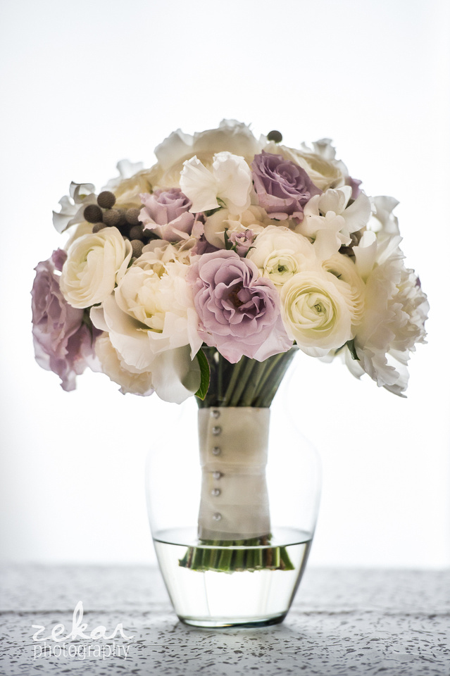 peonies, white roses, mauve and silver wedding bouquet