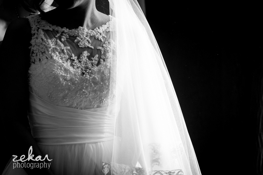 black and white photo of bridal gown