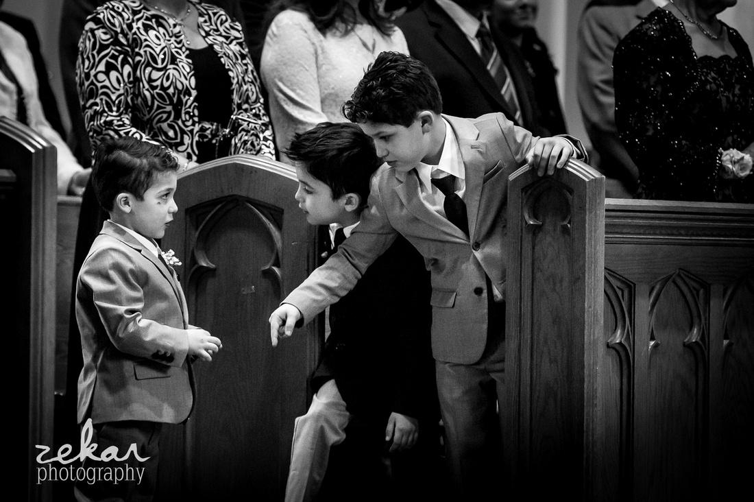 kids fighting in church pews
