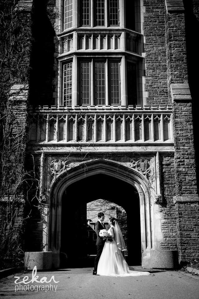 wedding photos McMaster University campus, Hamilton, Ontario