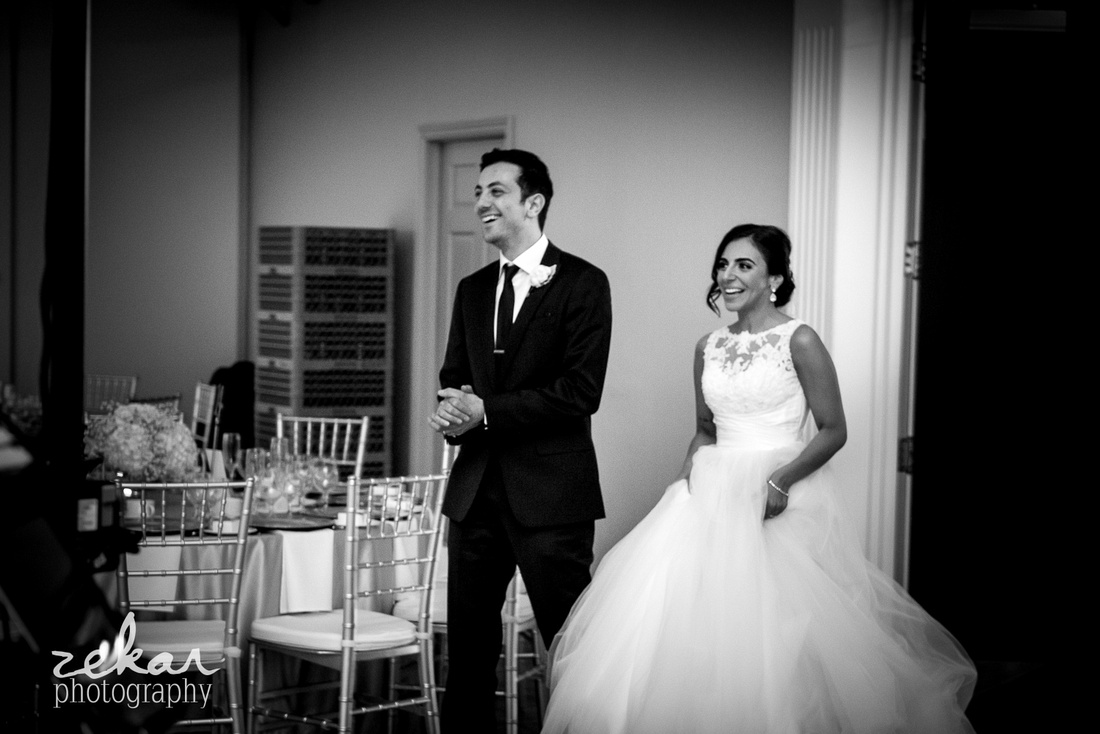 bride and groom seeing decor for the first time