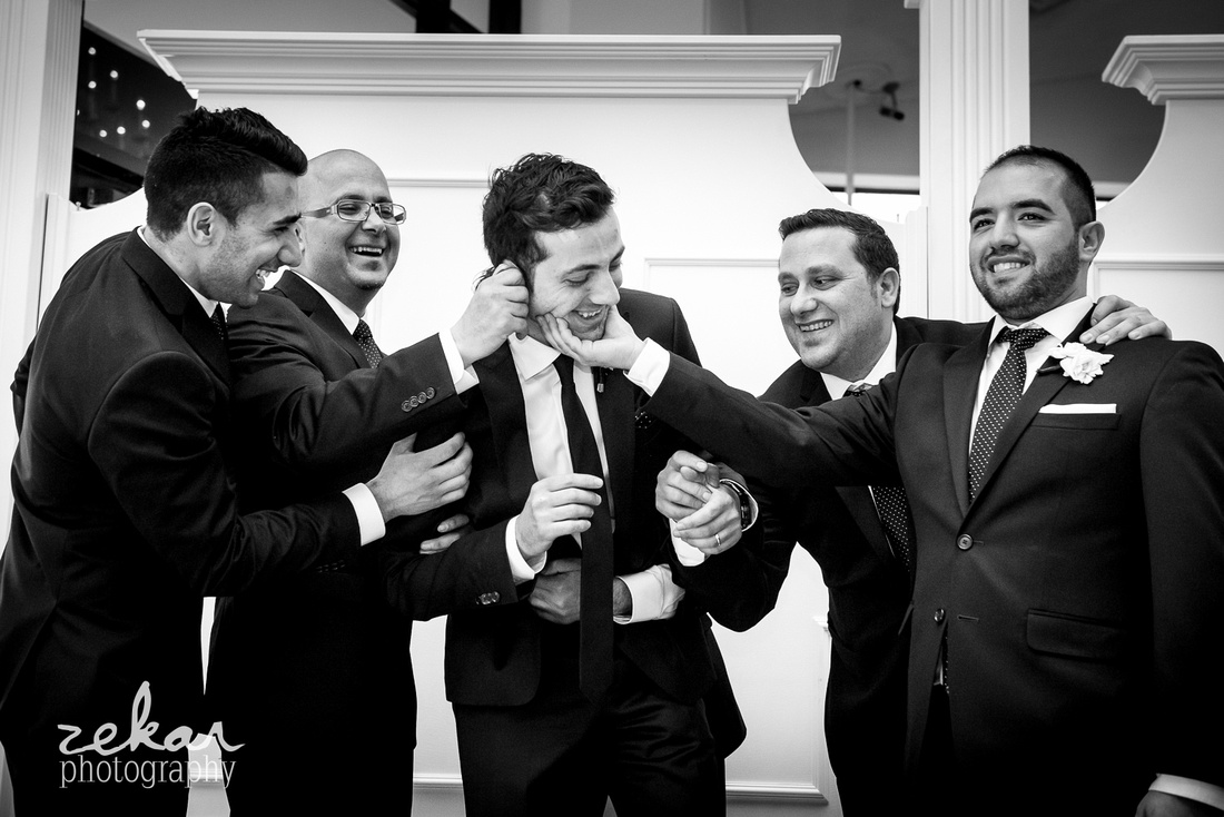 black and white bridal party photos
