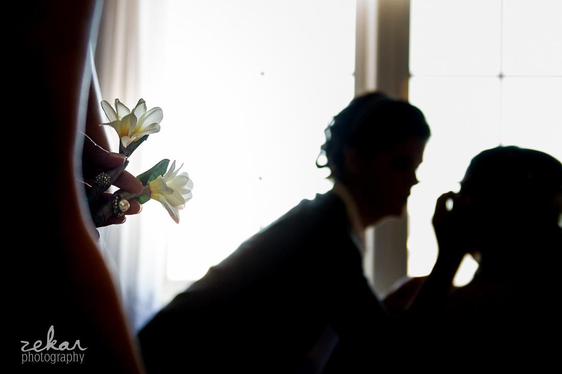 bride getting makeup on