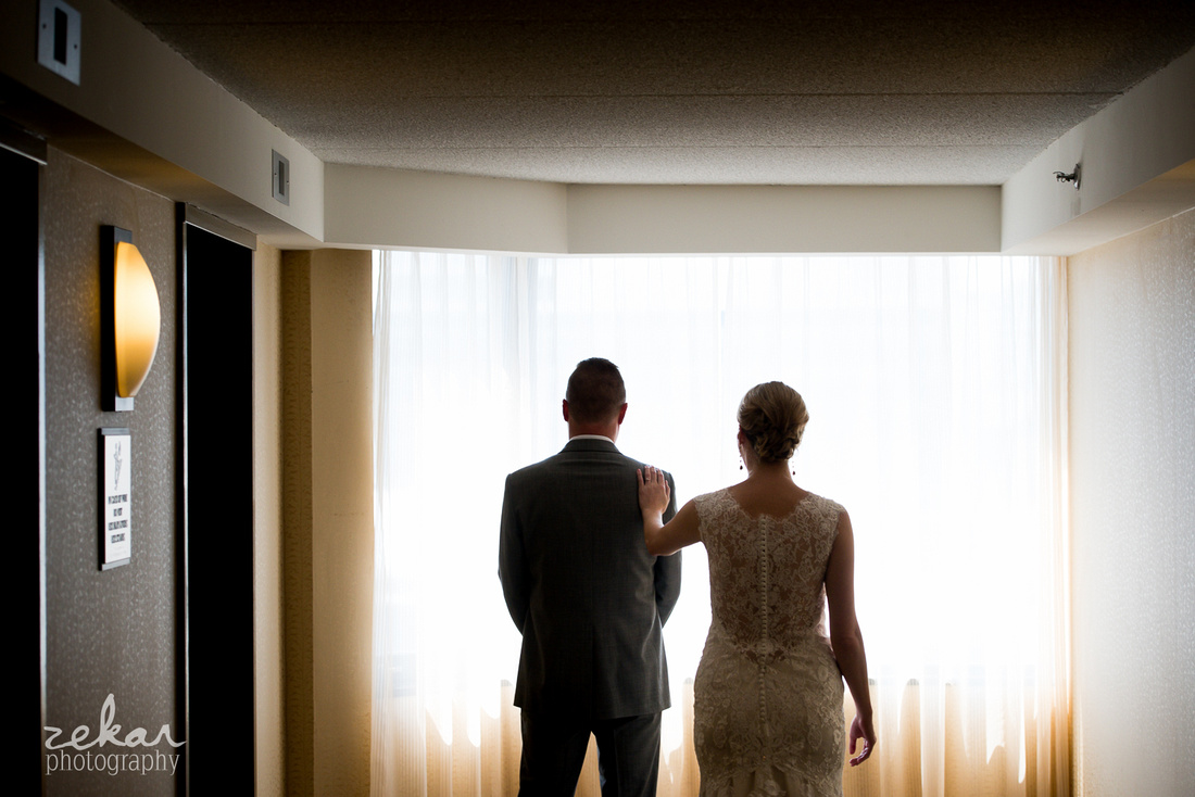 bride and groom first reveal hotel
