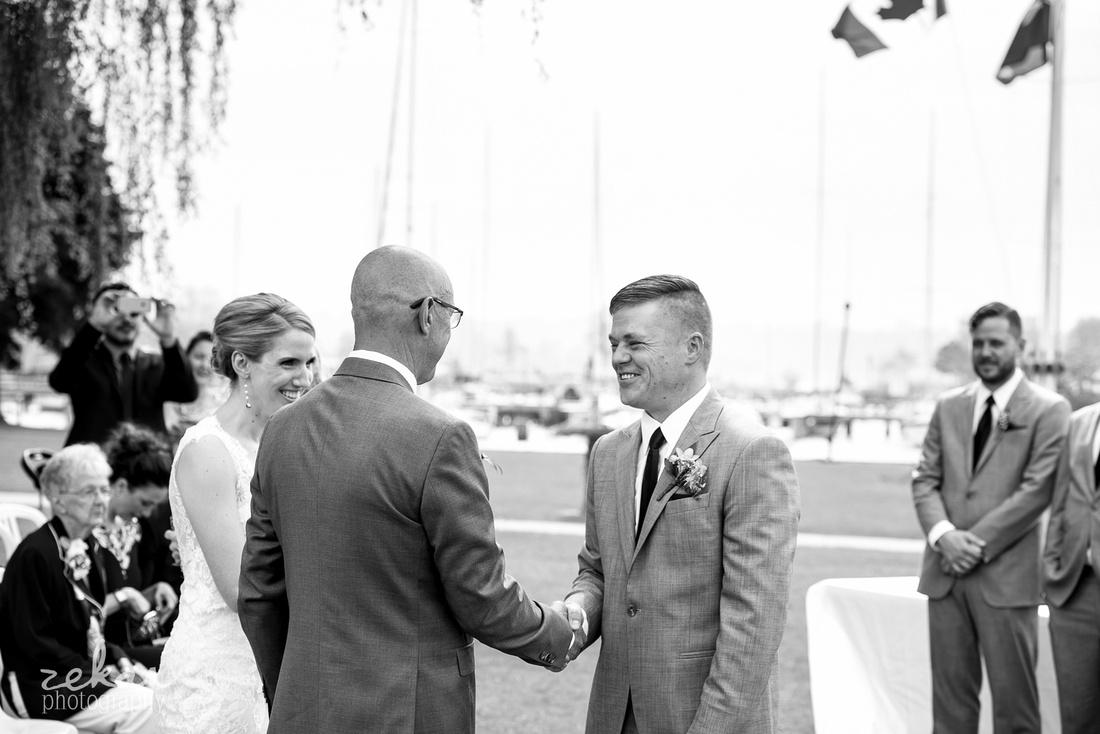wedding ceremony hamilton yacht club