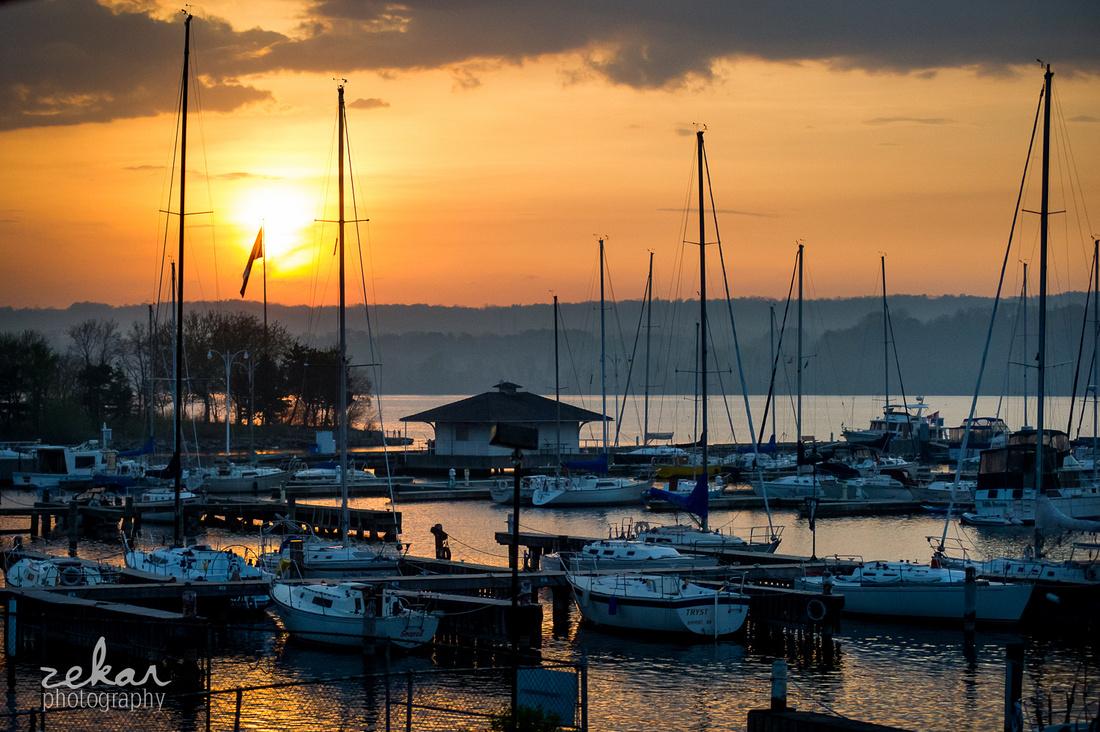sunset waterfront bridal photos