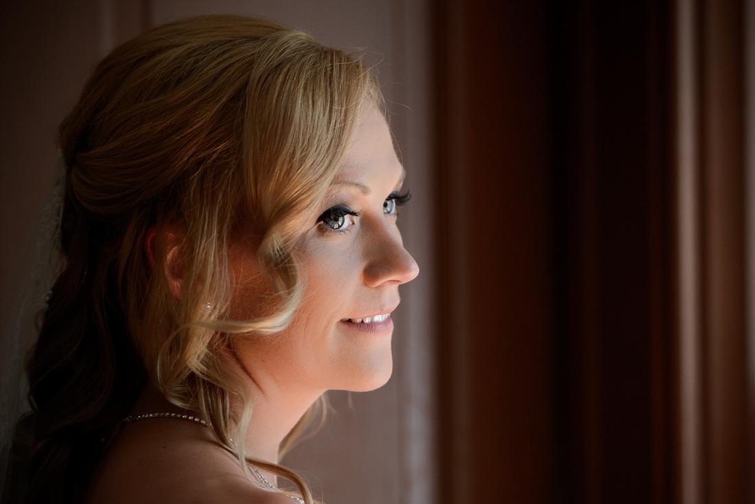 close up of brides face