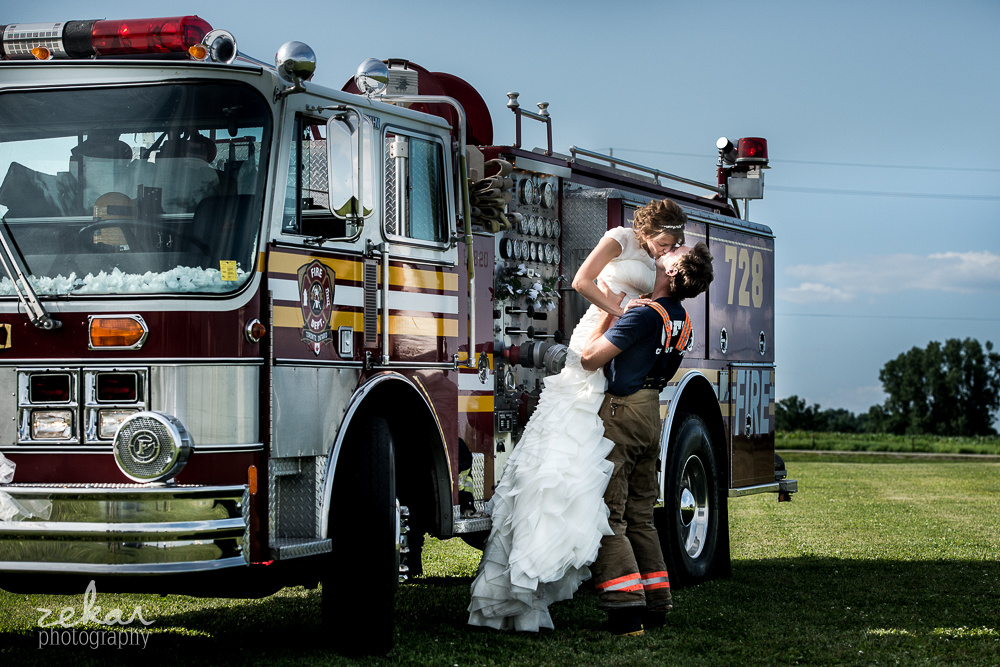 firefighter and bride fire truck