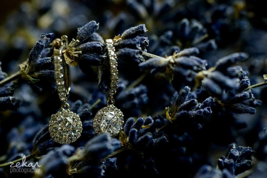 earrings hanging off lavender