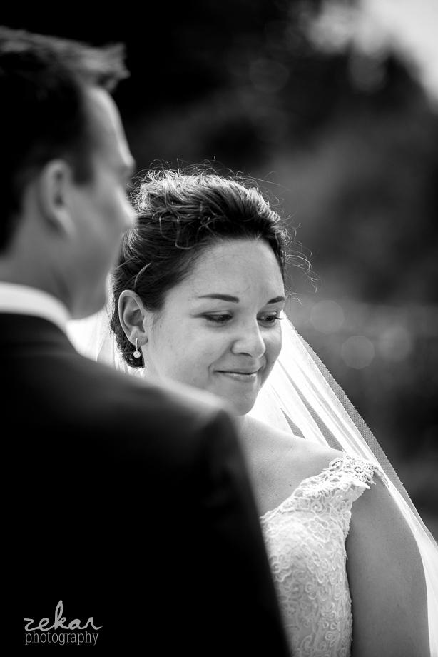 happy bride at altar