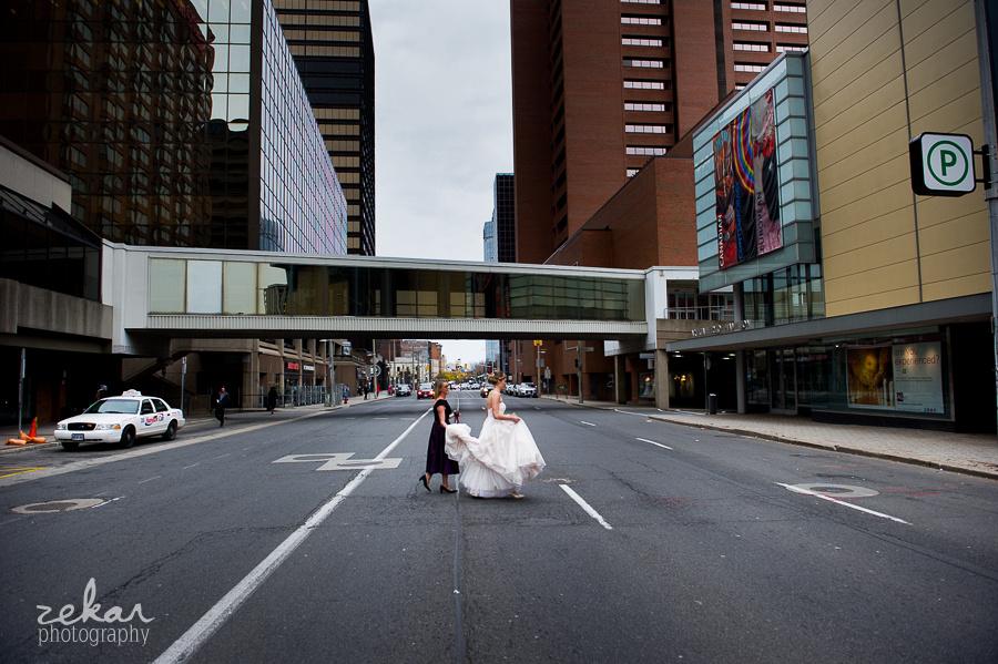 bride crossing busy street