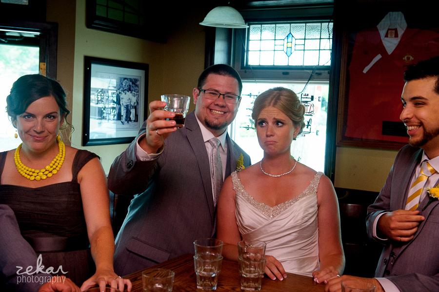 bride making sad face at shotglass