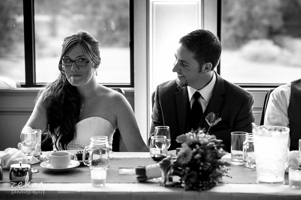 bride making cute face at speeches