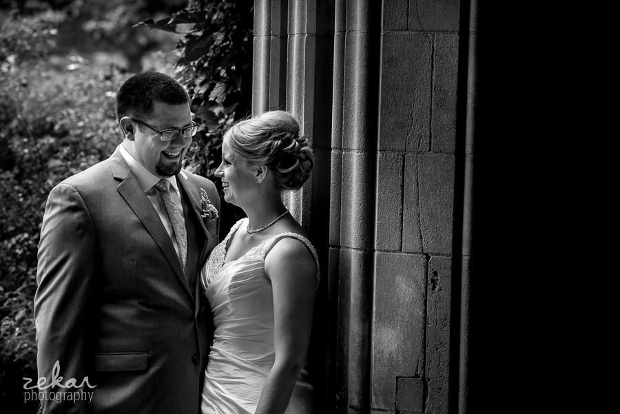bride and groom talking