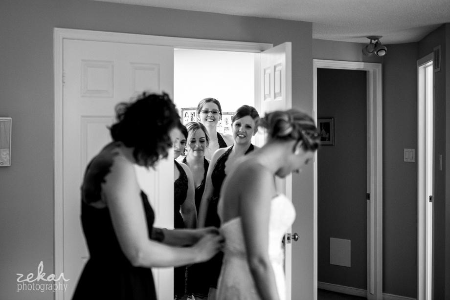 bridesmaids loving bride