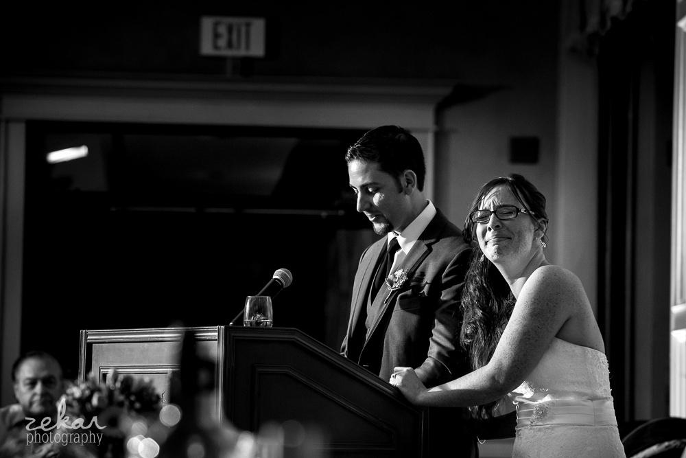 bride crying at groom speech
