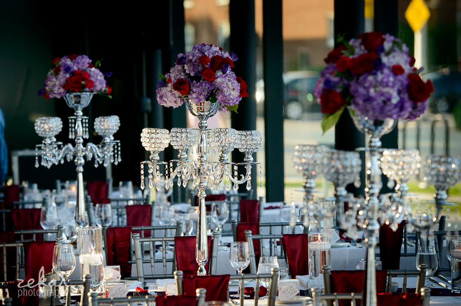 mauve and red roses wedding decor