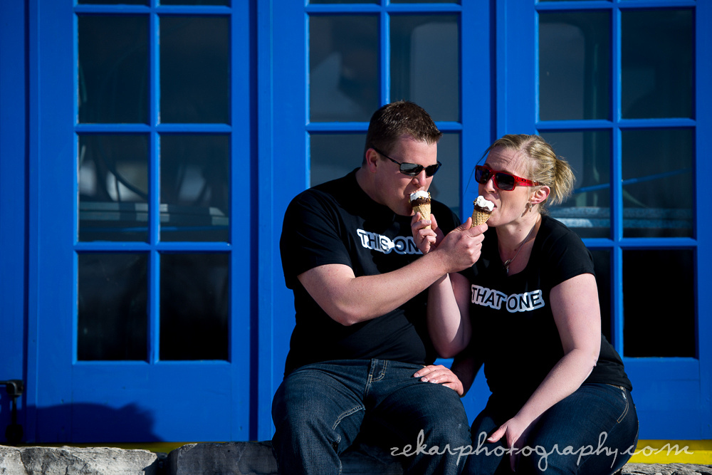 couple eating ice cream engagement shoot