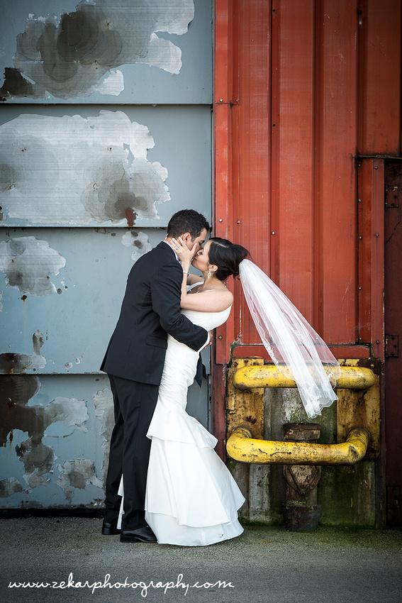 hamilton wedding zekar photography bride and groom industrial background