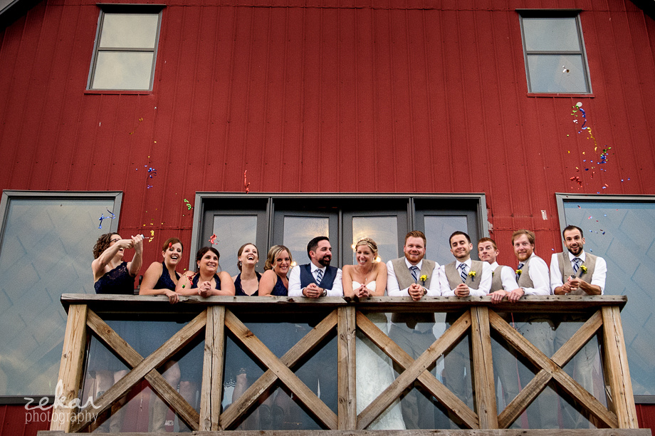 bridal party red barn