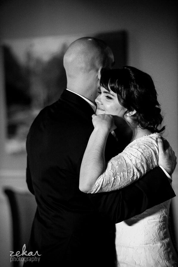 bride snuggling groom