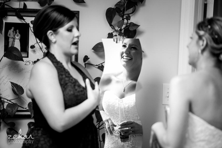 bride seeing self in mirror