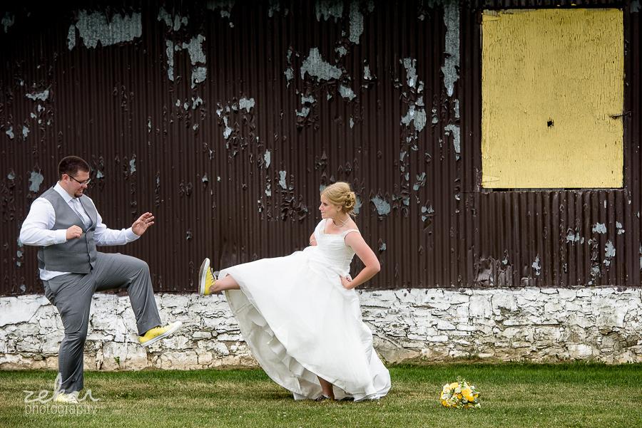 bride and groom karate kick