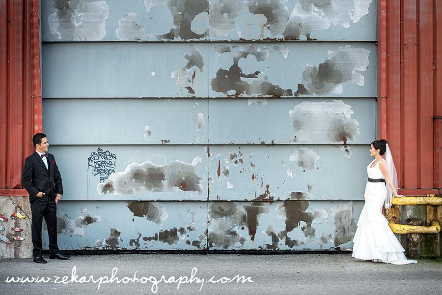 Hamilton Wedding Photography Bride & Groom Yacht Club Industrial Setting Cool Background