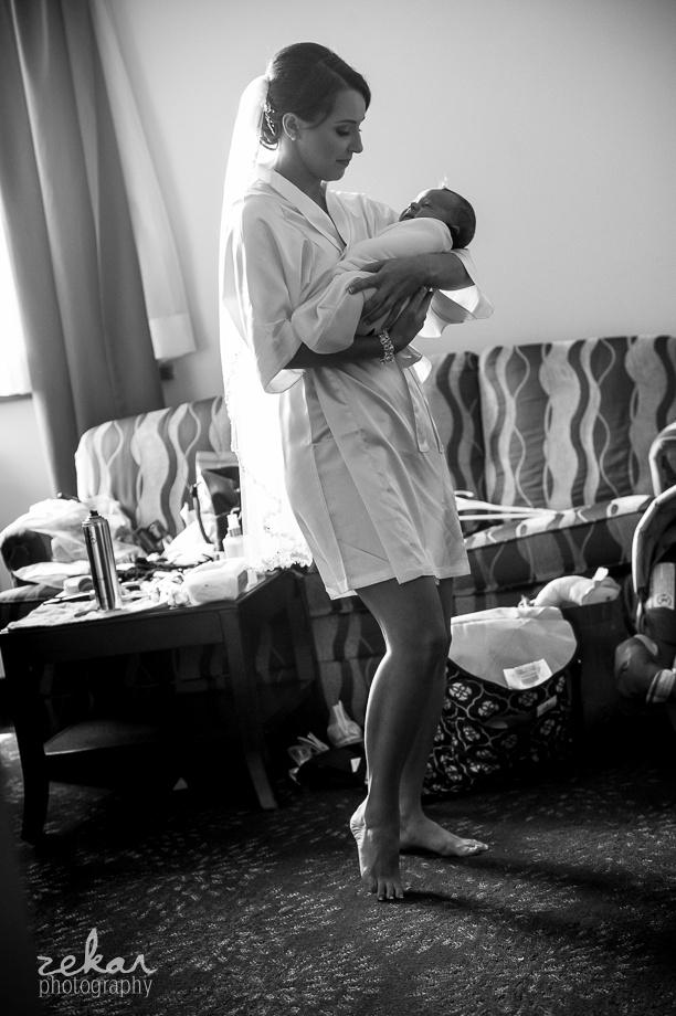 bride holding new nephew
