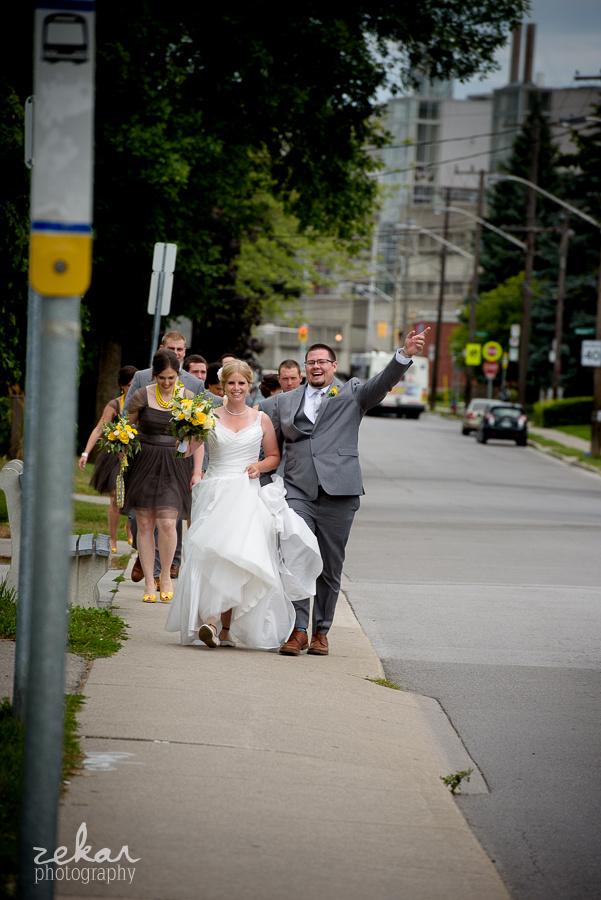bridal party walking to pub