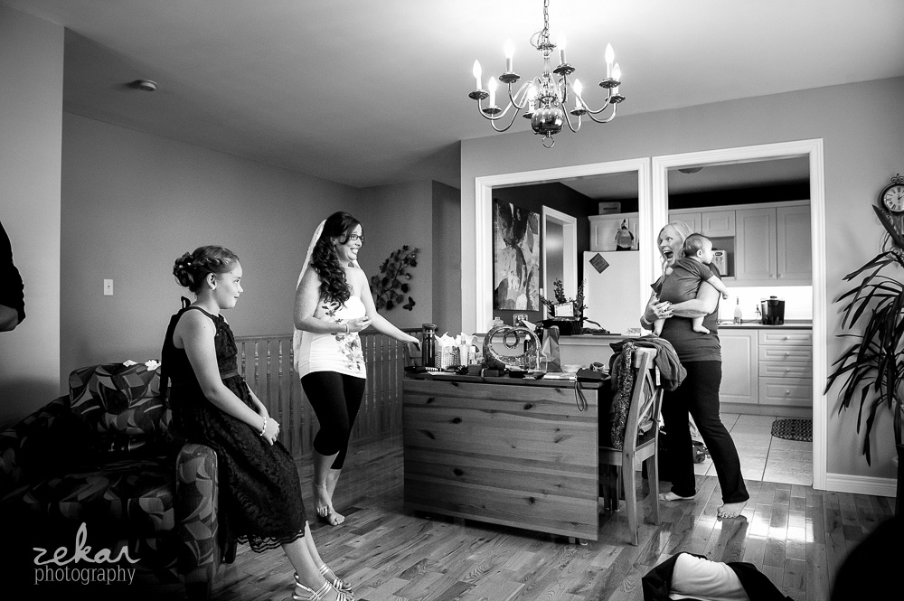 bride hanging out in kitchen
