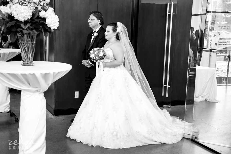 dad and bride walking down aisle