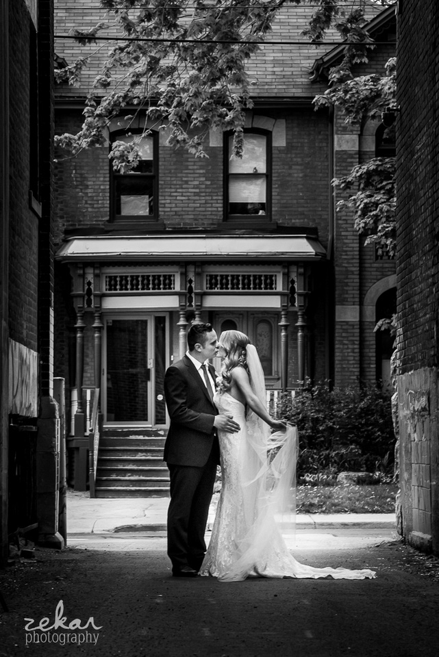bride and groom old home