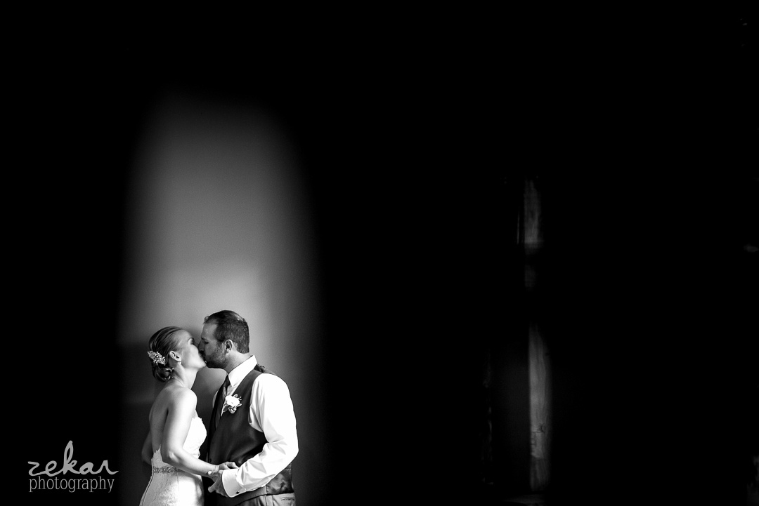 kissing in black and white