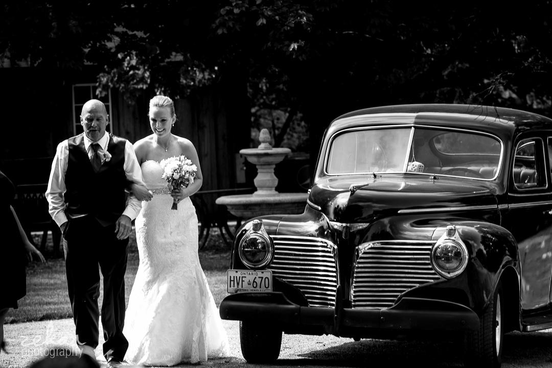 bride walking with dad