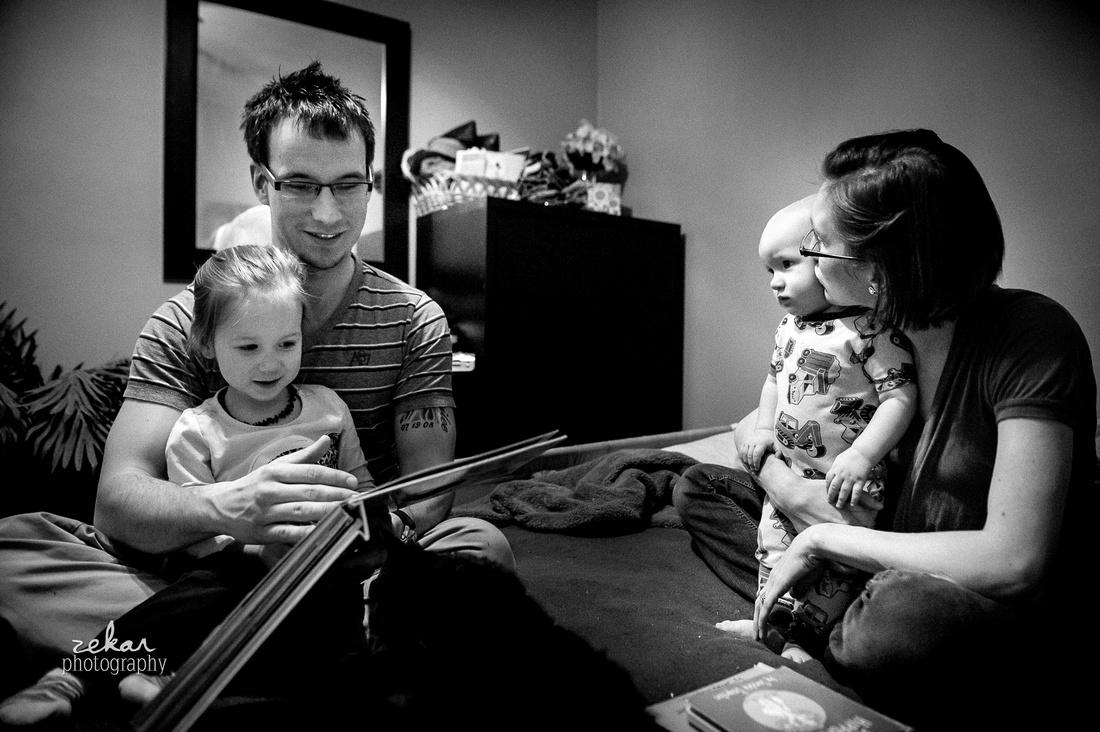family reading bedtime story