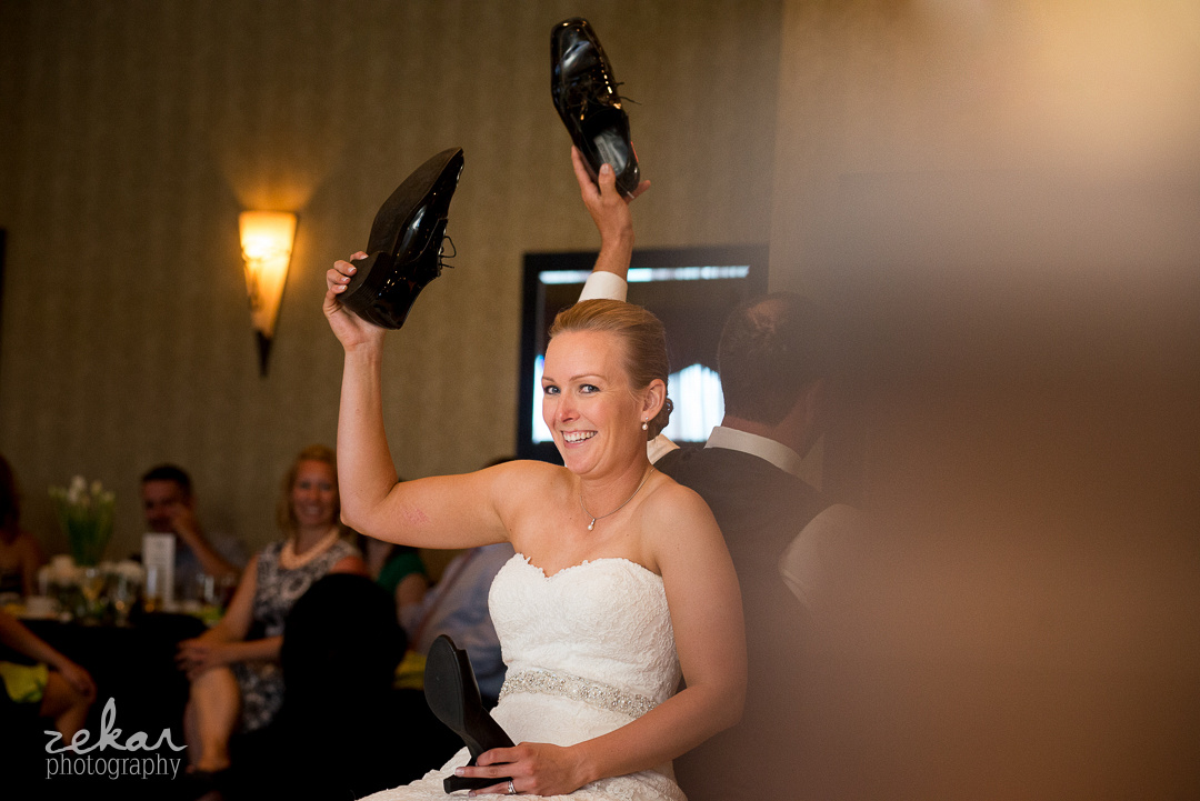 bride with shoes