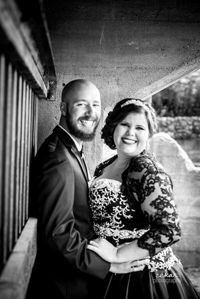 bride and groom formal wedding photo