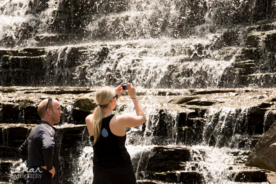 taking pictures of waterfall